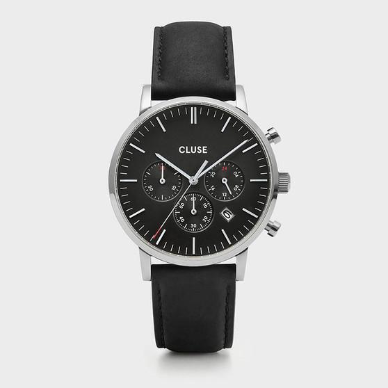 CLUSE Mens Aravis Chronograph Silver Black/Black Leather Watch CW0101502001