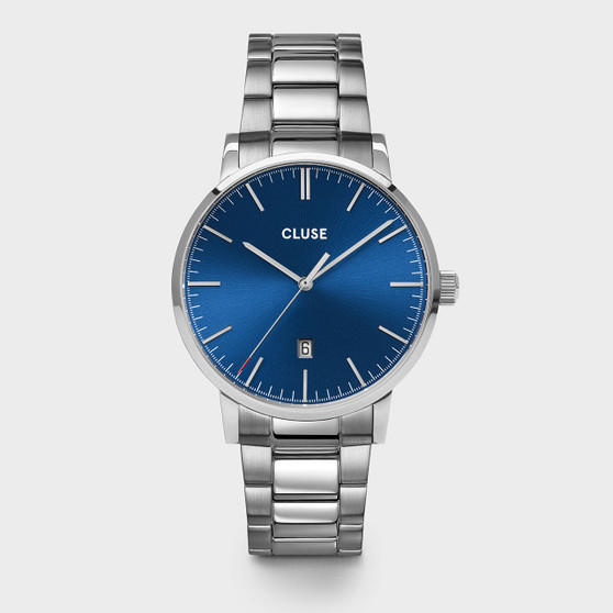 Cluse Mens Aravis Silver Dark Blue/Silver Link Watch CW0101501011