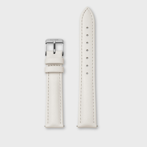 Cluse 16mm Watch Strap Off-White Leather/Silver