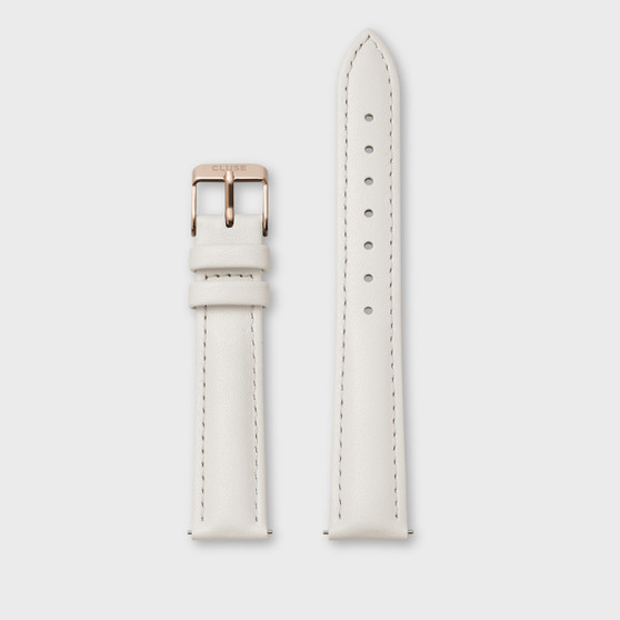 Cluse 18mm Watch Strap Off-White Leather/Rose Gold