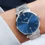 Cluse Mens Aravis Silver Dark Blue/Silver Link Watch CW0101501011