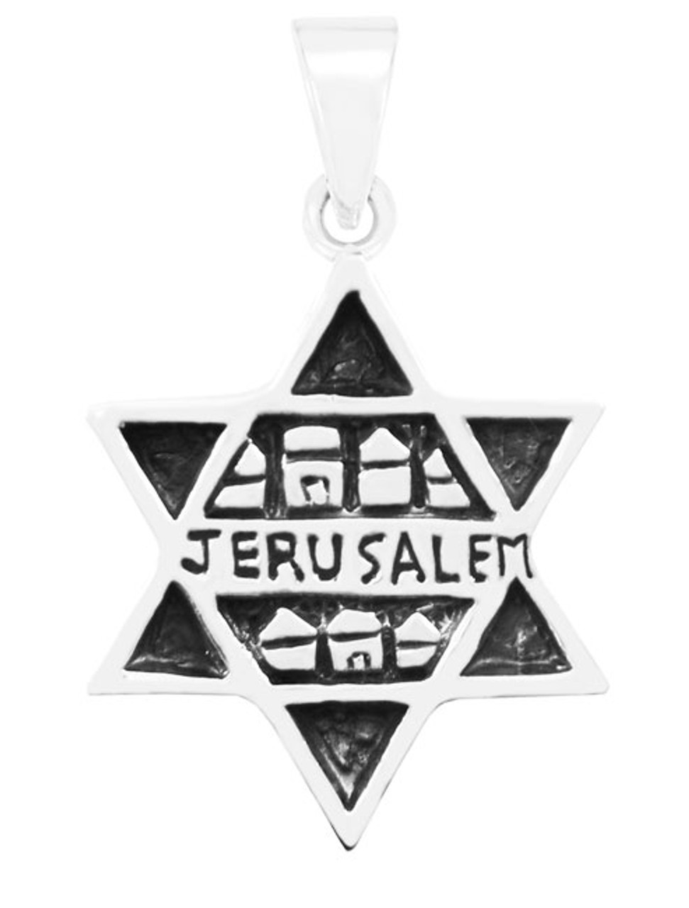 Silver Star of David with Jerusalem Motif