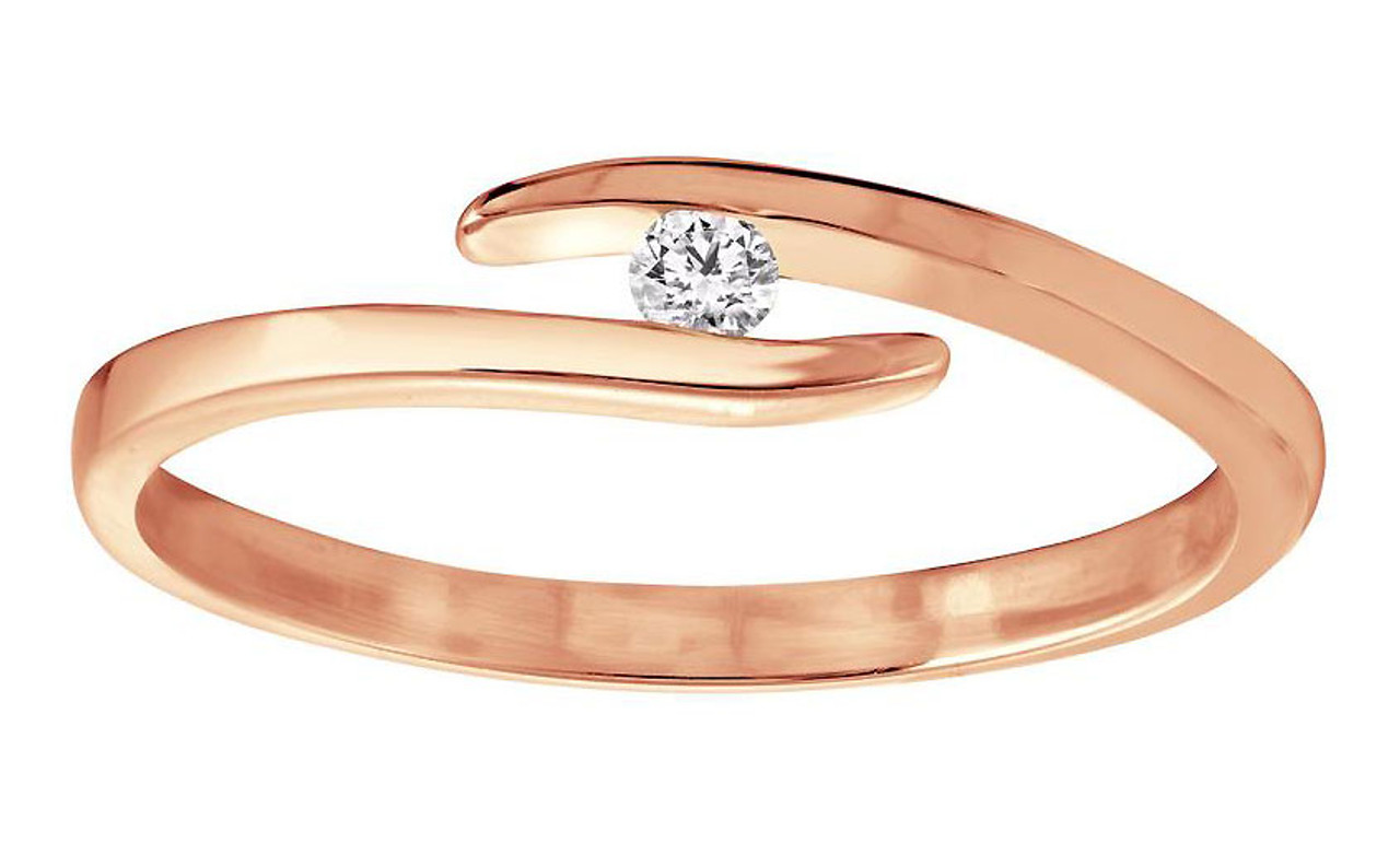 6e35d887398ef Floating Diamond Ring in 14k Rose Gold with Custom Engraving in Hebrew
