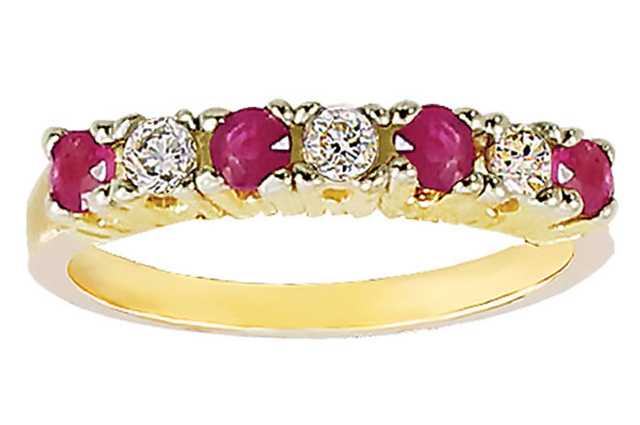 Diamond & Ruby Ring in 14k Yellow Gold with Custom Engraving in Hebrew
