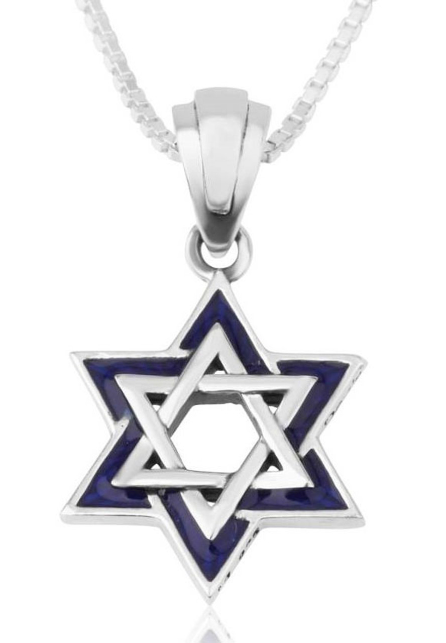 Star of David Necklace Made of Sterling Silver /& blue epoxy-glass,Magen david judaica jewelry gift for him bar mitzvah gift judaica jewelry