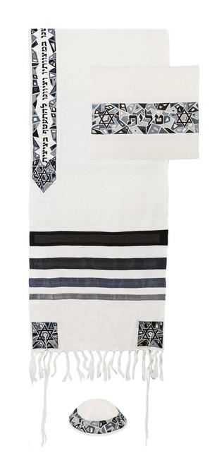 Modern Black and Grey Tallit Set with Bag and Kippah