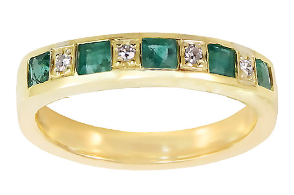 Diamond & Emerald Ring in 14k Yellow Gold with Custom Engraving in Hebrew