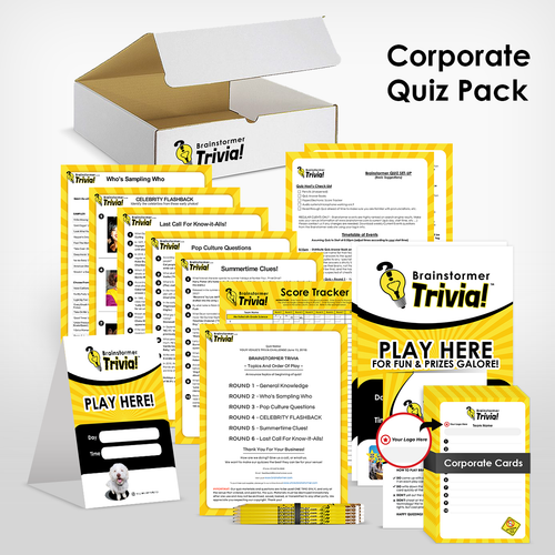 Brainstormer's Corporate Quiz Pack - host trivia for your employees at your office, or at a bar/restaurant