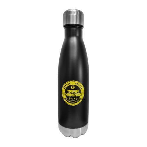 'TRIVIA CHAMPION!' Glacier 17 oz stainless steel, copper lined bottle (BLACK)
