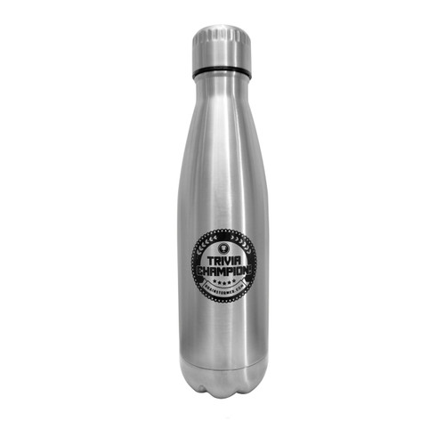 'Trivia Champion!' 17 oz stainless steel, copper-lined bottle (STEEL)