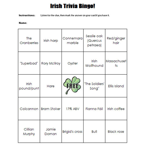 Brainstormer's Irish Trivia Bingo
