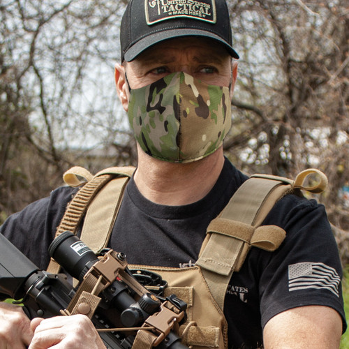 FM027 Ear Loop Facemask - Reversible - MiltiCam/Olive Drab