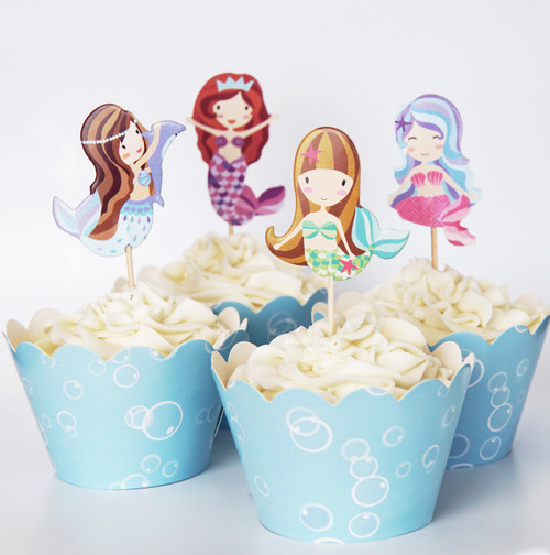 24 Mermaid Cupcake Toppers & Wrappers