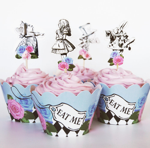 24 Vintage Alice in Wonderland Cupcake Toppers & Wrappers