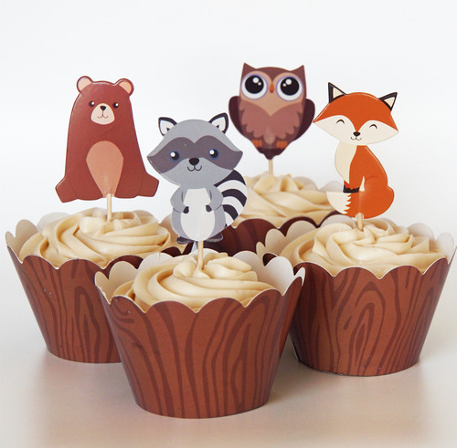 24 Woodland Animal Cupcake Toppers & Wrappers