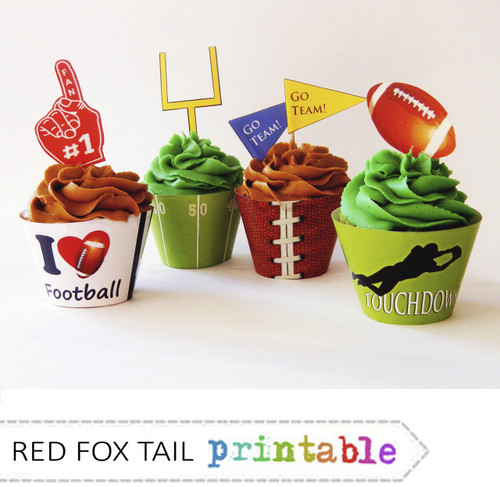 Football Party Cupcakes Wrapper and Topper Set