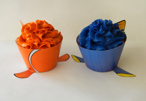 Clown Fish and Dori Fish Cupcake Wrappers and Toppers