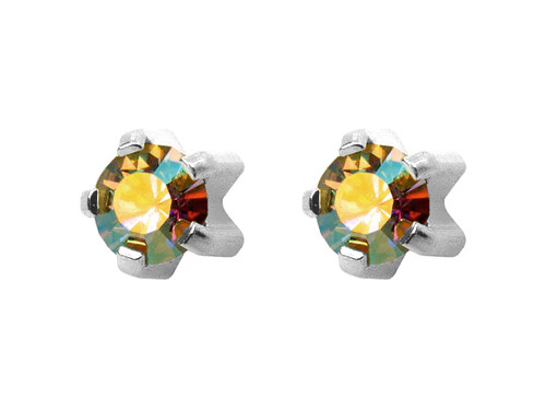 Large Rock Crystal Tiffany Stud S/S/S