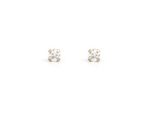 SYS75 14K Solid White Gold 2mm CZ