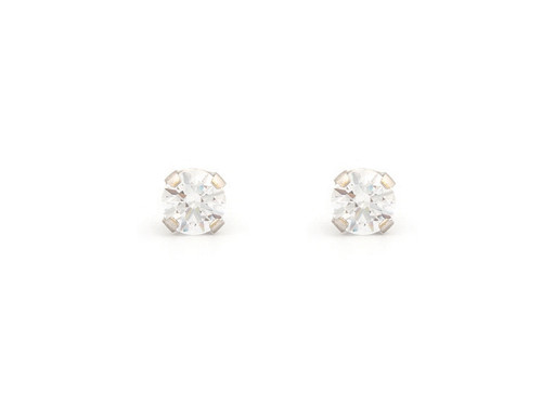 SYS75 14K Solid White Gold 3mm CZ