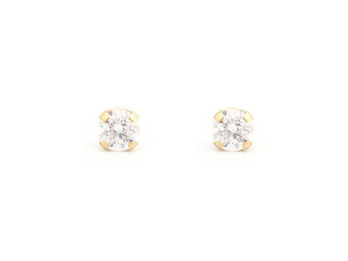 SYS75 14K Solid Gold 3mm Baby CZ