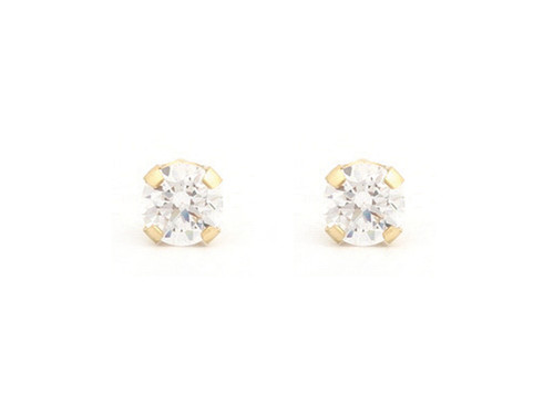 SYS75 14K Solid Gold 4mm CZ