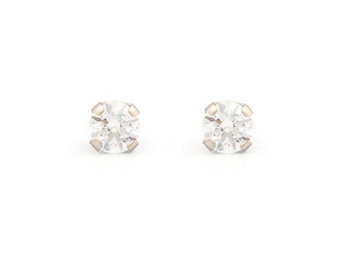 SYS75 14K Solid White Gold 4mm CZ