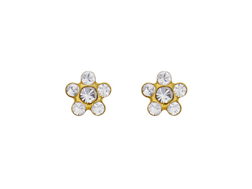 SYS75 14K Solid Gold Daisy Crystal