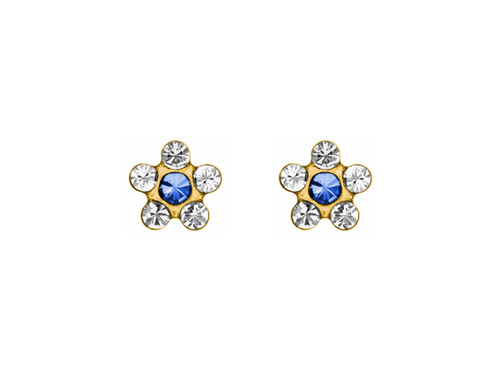 SYS75 14K Solid Gold Daisy Crystal/Sapphire