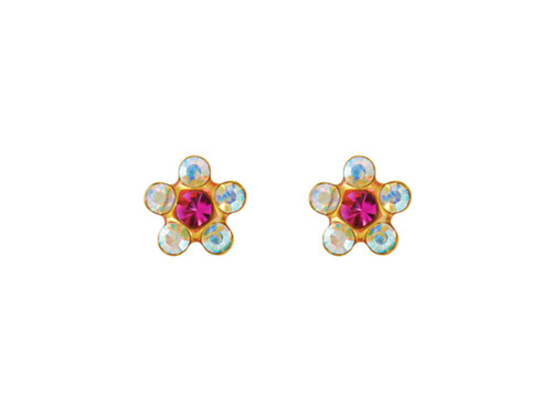SYS75 14K Solid Gold Daisy AB/Pink