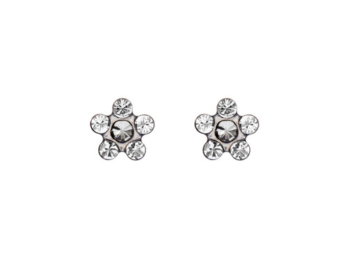 SYS75 14K Solid White Gold Daisy Crystal