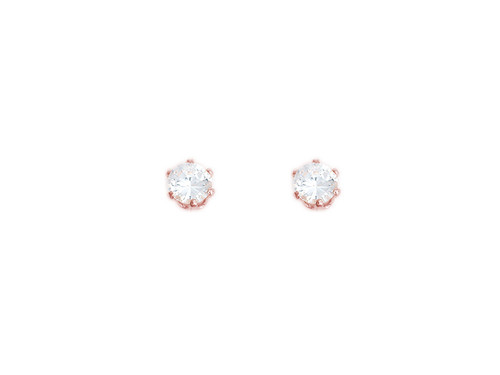 4mm Round CZ Rose Gold