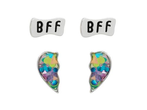 BFF Heart Set Rhodium