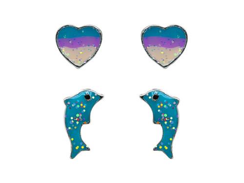 Dolphin Heart Set Rhodium