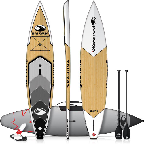"""KAHUNA EPIC COMP BAMBOO 12' 6"""" TOURING SUP PACKAGE W/ PADDLE, BAG AND LEASH (2019)"""
