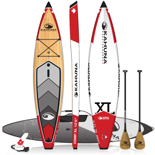 """KAHUNA EPIC COMP XL CANADA BAMBOO 12' 6"""" TOURING SUP PACKAGE W/ PADDLE, BAG AND LEASH (2021)"""