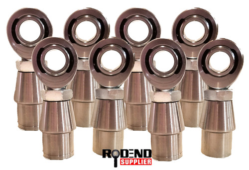 "Half Set (8) of  3/4"" Heim Joint Rod Ends, 1.0"" OD Bungs & Nuts"
