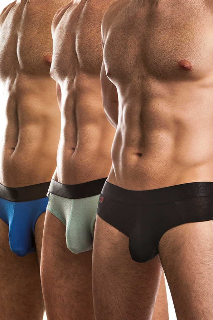 Jack Adams Naked Fit Brief Multi-Pack:  Black (1), Seafoam (1), Royal (1)