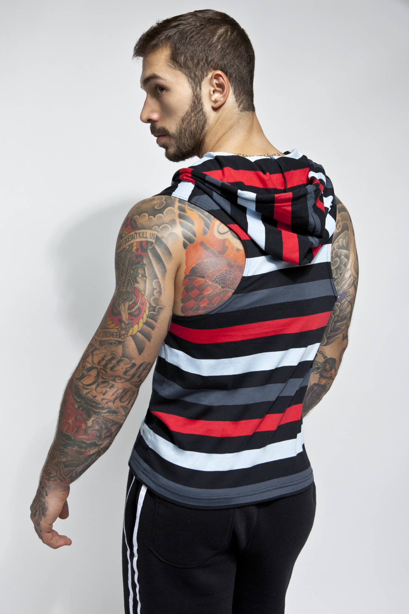 Bridgetown Zip Up Sleeveless Hoodie - Rear view