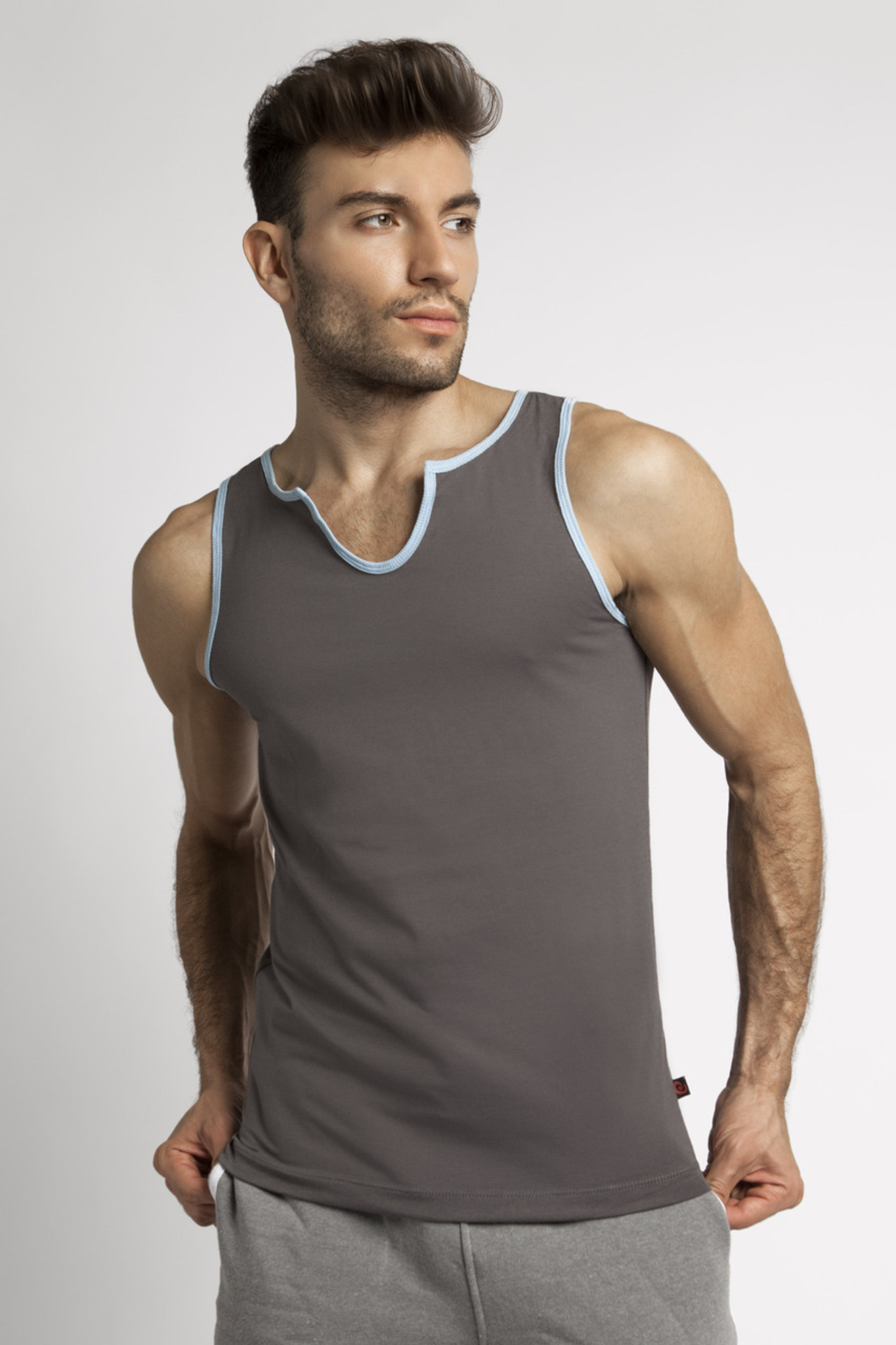 Jack Adams Core V-Tank - Grey with Sky Blue Trim