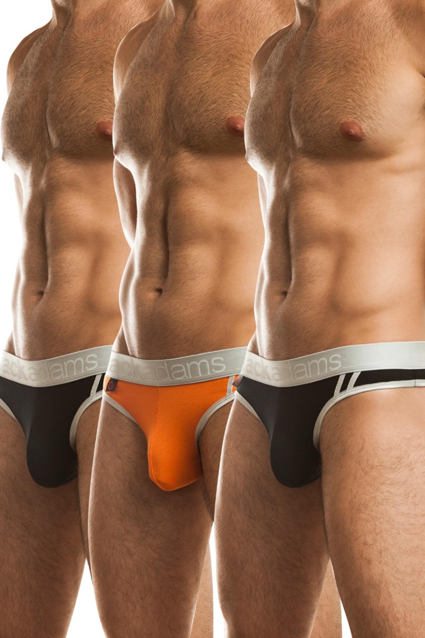 Jack Adams LUX Thong Multi-Pack in black (2) and orange (1)