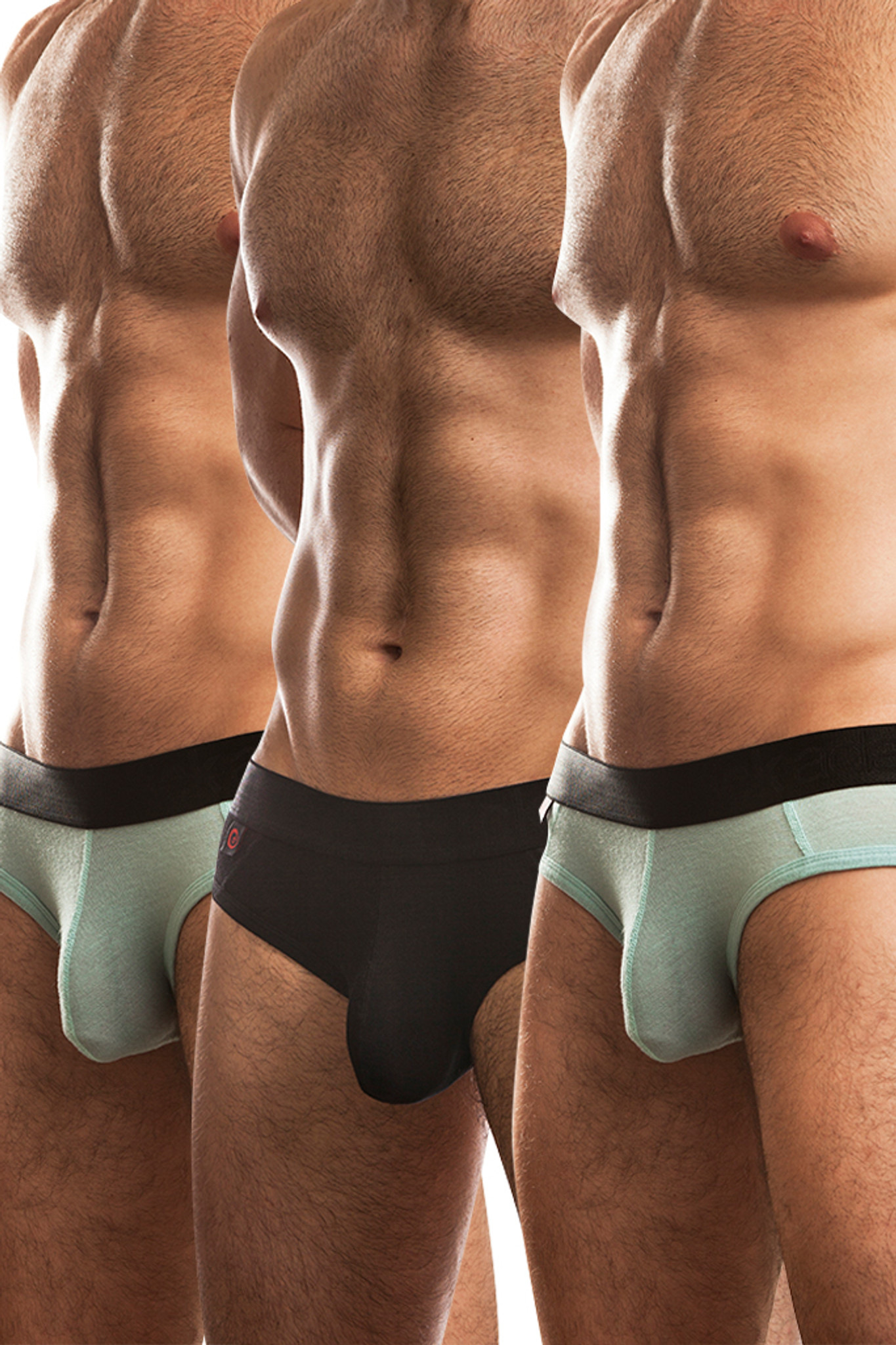 Jack Adams Naked Fit Brief Multi-Pack:  Black (1), Seafoam (2)