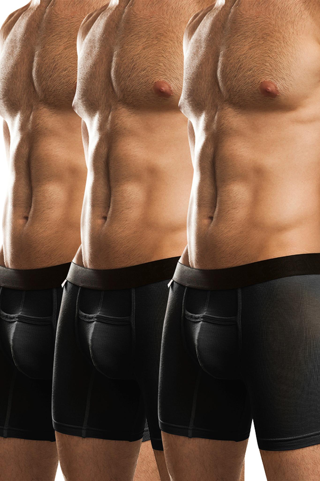 Jack Adams Naked Fit Boxer Brief Multi-Pack: Black (3)