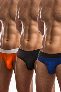 Jack Adams Air Army Brief Multi-Pack - black  (1),orange (1), and royal (1)