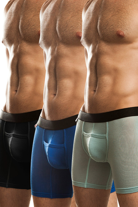 Jack Adams Naked Fit Boxer Brief Multi-Pack: Black (1), Seafoam (1), Royal (1)