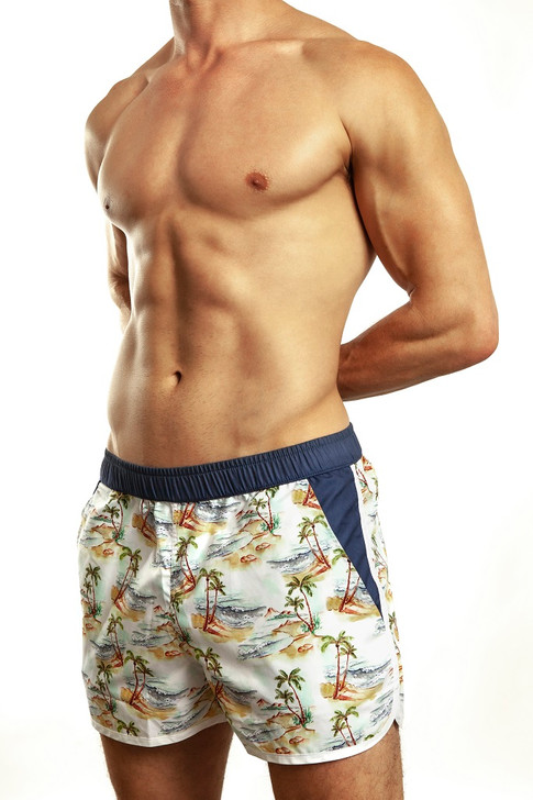 The Jack Adams fun Retro Hawaiian swim short features a short upper-thigh length with shaped hems and contrast trim.