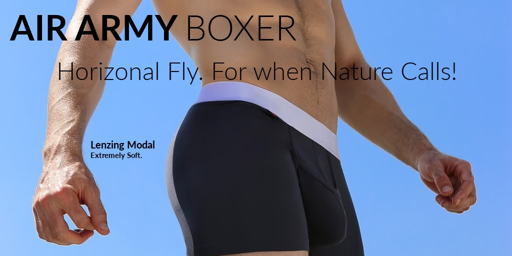 Air Army Boxer Brief. Horizontal Fly. For when Nature Calls! Lenzing Modal. Extremely Soft.
