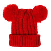 Bobble Knit Satin Lined Winter Hat for Kids - Red
