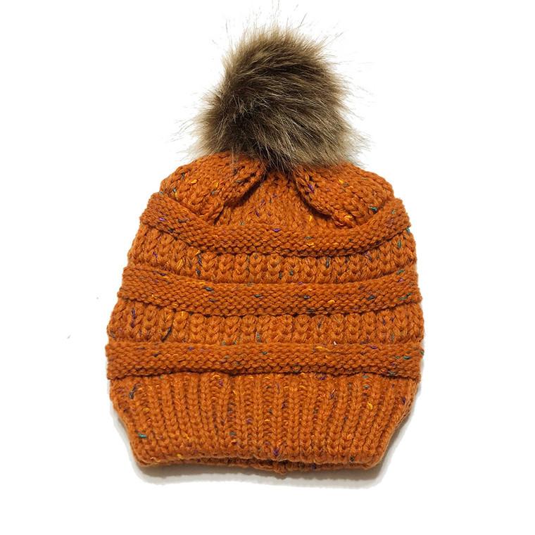 Speckled Pom Hat - Burnt Orange
