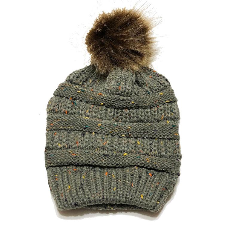 Speckled Pom Hat - Hunter Green